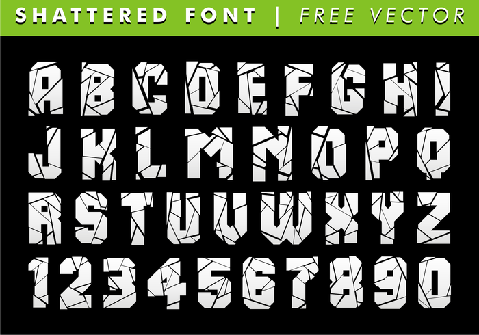 Shattered Font Free Vector   Download Free Vector Art, Stock