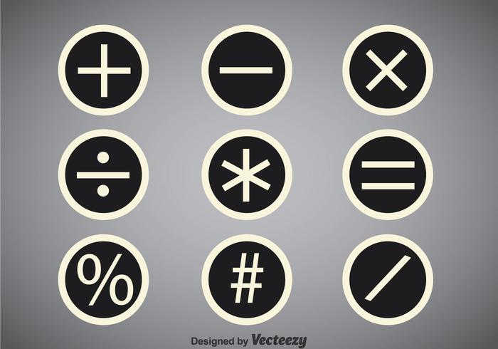 Math Symbols Circle Vector Sets