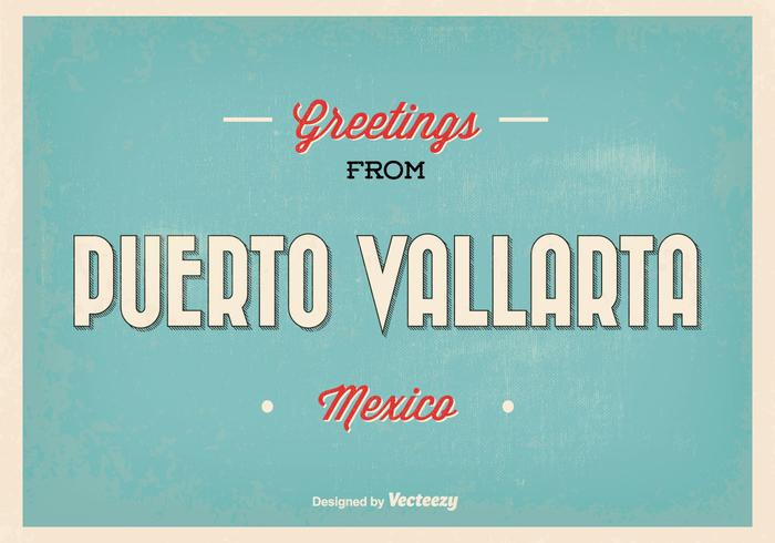 Puerto Vallarta mexico greeting illustration