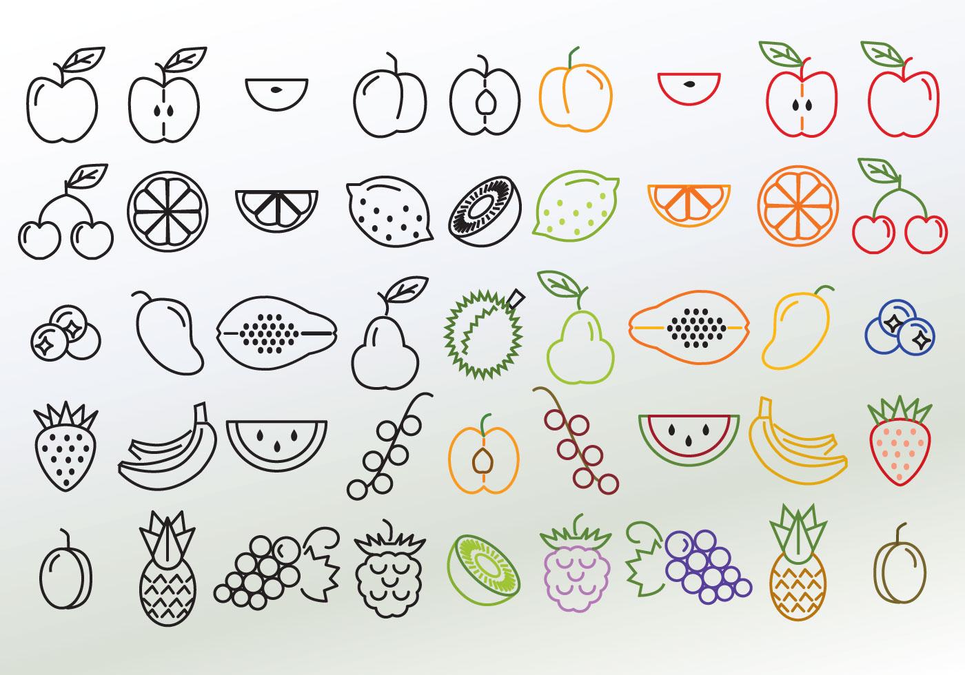 Line Art Fruits : Set of different linear fruit vectors download free