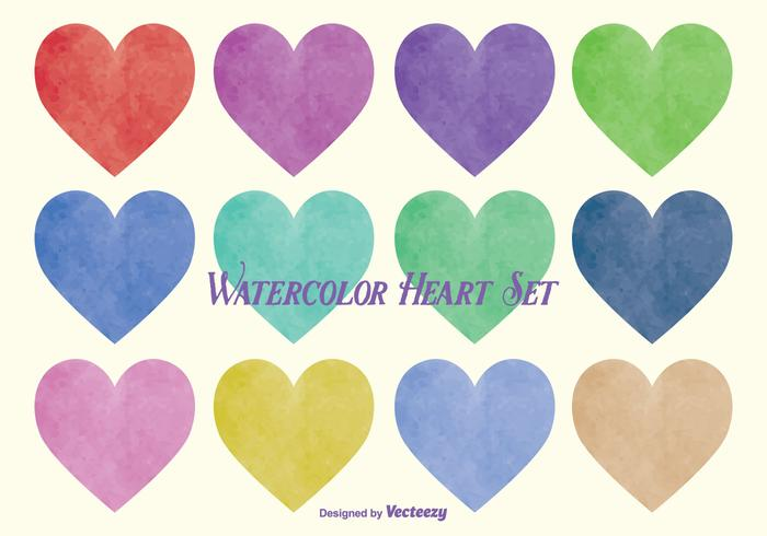 Watercolor Style Vector Heart Set