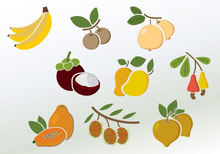 Conjunto de vetores de frutas coloridas