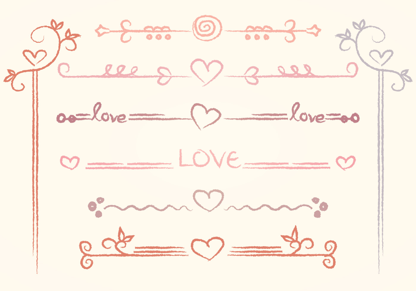 vector handdrawn love dividers download free vector art