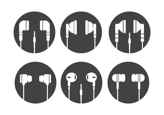 Ear Buds Vector Silhouettes