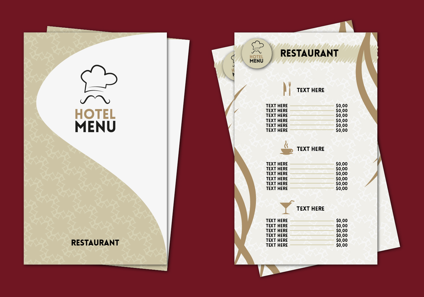 hotel menu professional template vector download free vector art
