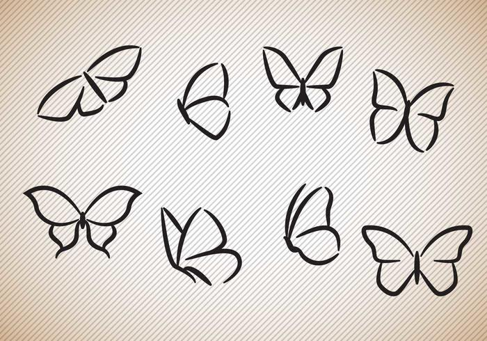 Free Butterflies Silhouettes Vector