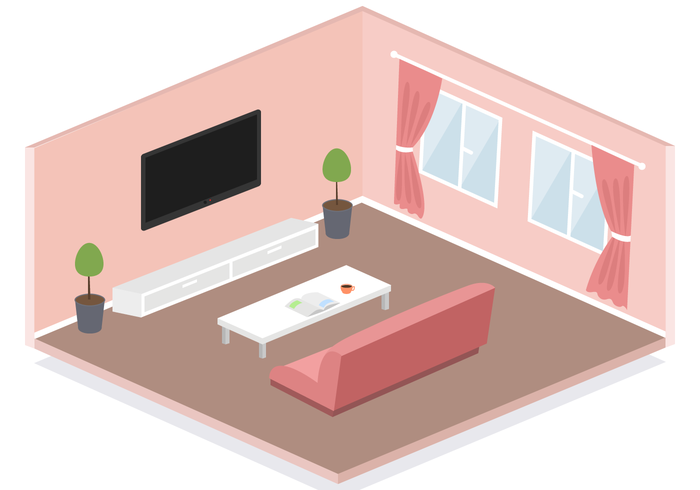 Free isometric living room vector download free vector for Apartment design vector