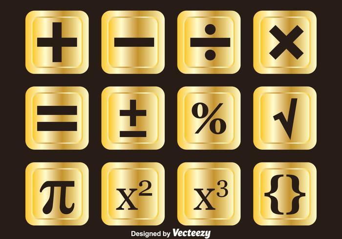 Símbolos matemáticos de oro conjuntos de vectores