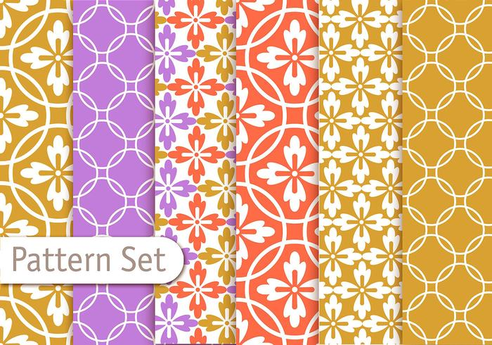Conjunto de patrones geométricos de colores vector