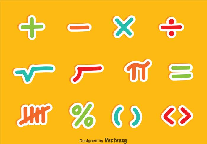 Math Symbols Colorful Vector Sets
