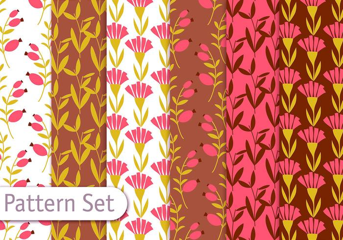 Retro Romantic Floral Pattern Set vector