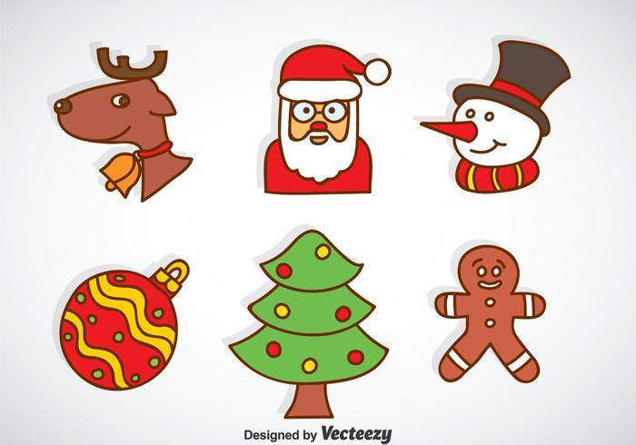 Christmas Cartoon Icons Vector