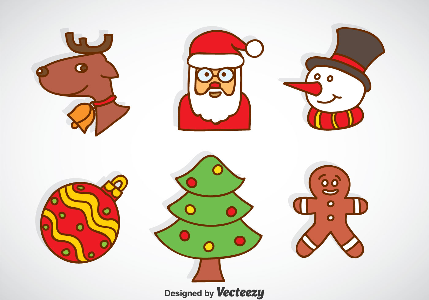 christmas cartoon icons vector download free vector art. Black Bedroom Furniture Sets. Home Design Ideas
