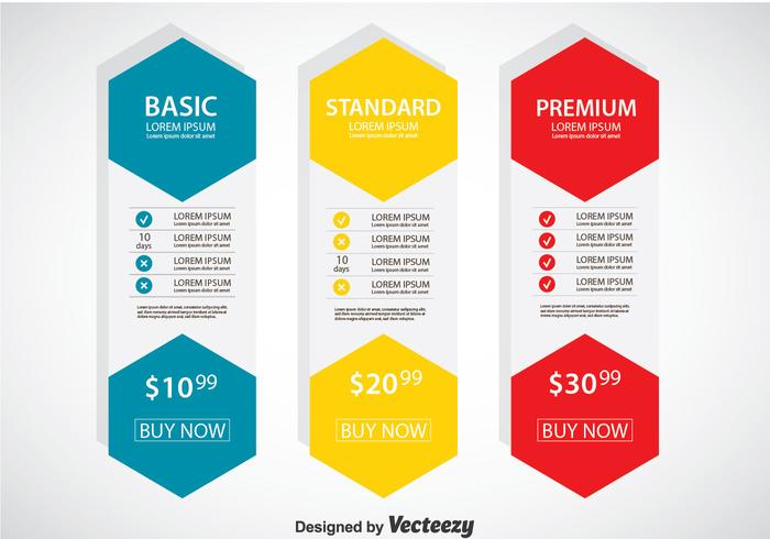 Pricing table flat design template vector download free for Pricing table design