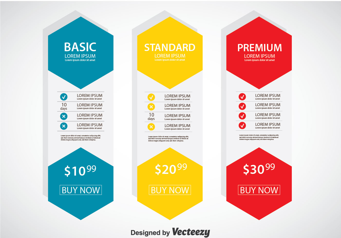 Pricing table flat design template vector download free for Table flat design