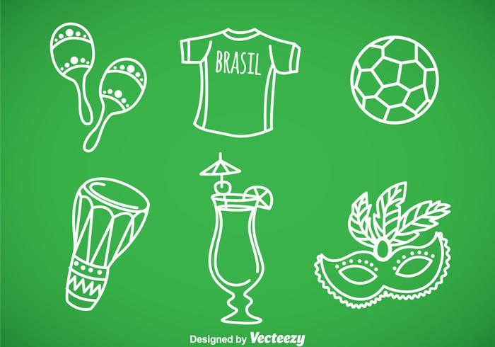 Brasil Hand Draw Icons Vector