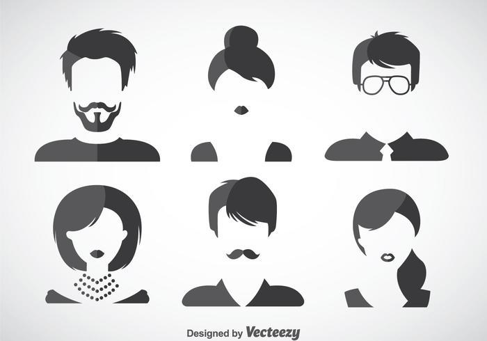Set di icone di stili di capelli vettore