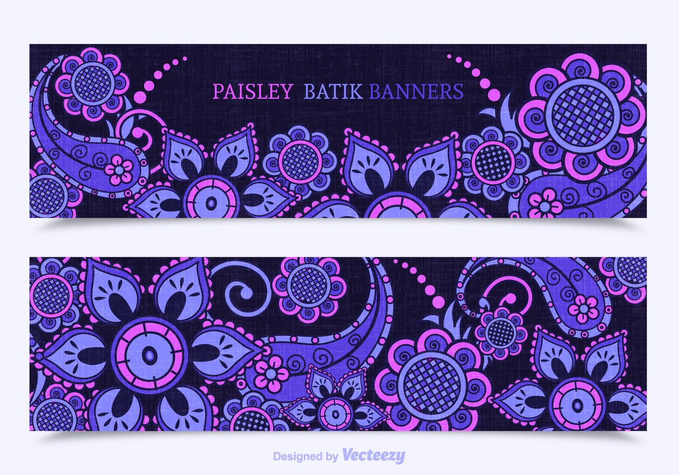 Free Paisley Batik Vector Banners Download