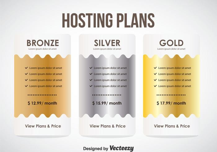 Hosting Plans Tbale Template Vector