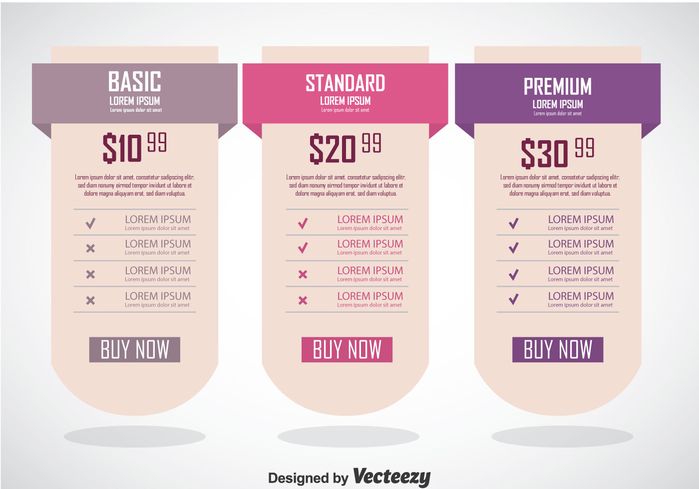 pricing table banner template
