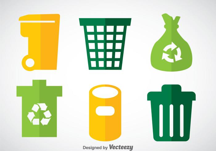 Dumpster Flat Icons Vector Sets