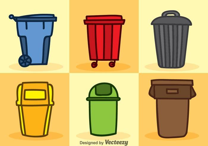 Conjuntos de vetores de ícones de desenhos animados de lixo