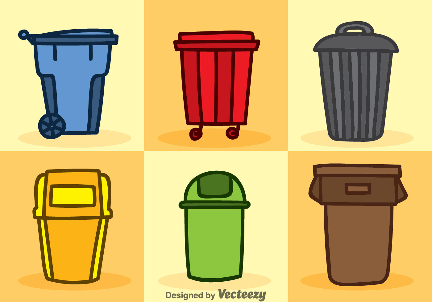 Dumpster Cartoon Icons Vector Sets