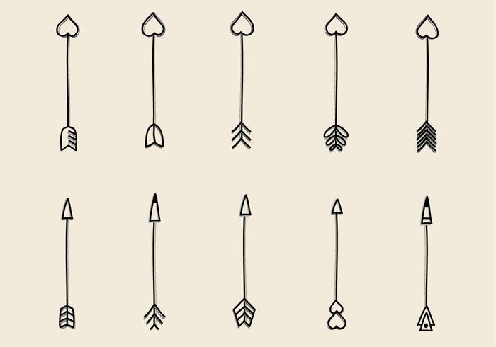 Vettore disegnato a mano delle frecce