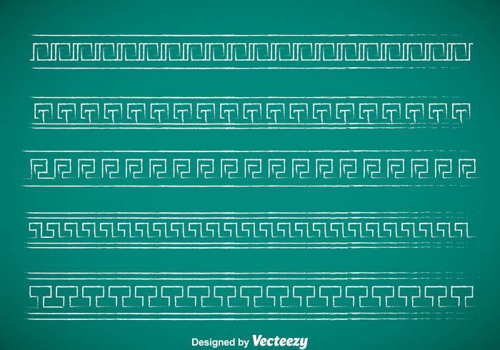 Greek Key Chalk Drawn Border Vector Sets