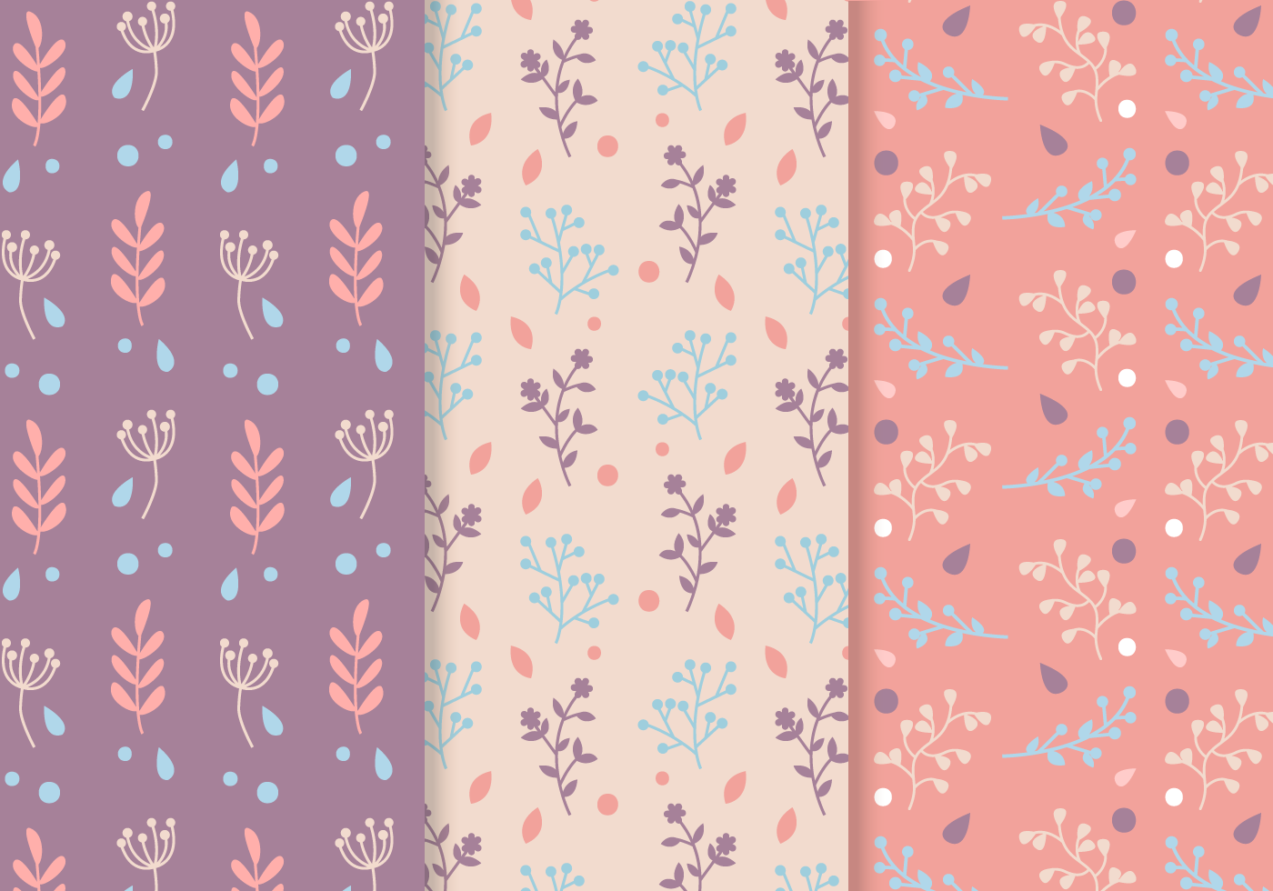 Free Seamless Plants Pattern Vector Download Free