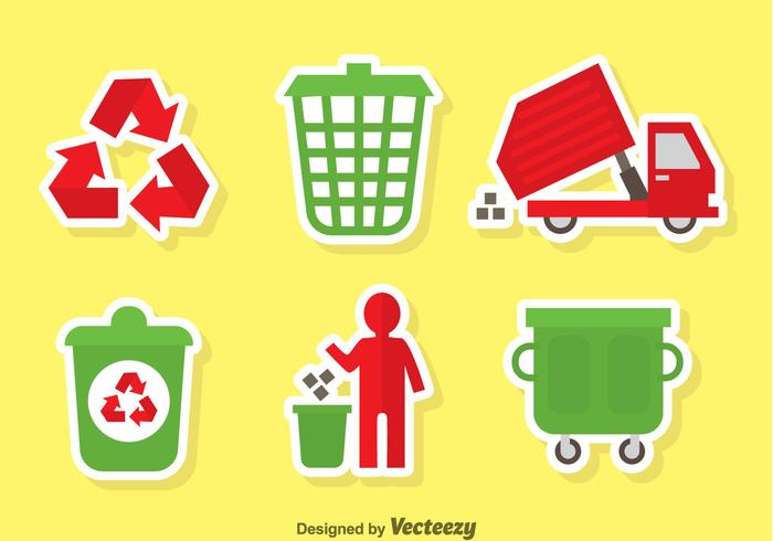 Garbage Red And Green Icons Vector