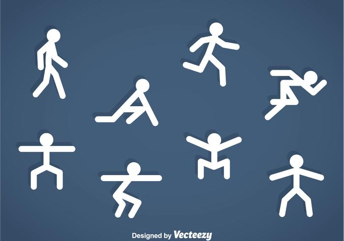 People Stickman Exercise Icons vector