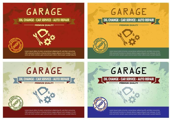 Diseño del cartel del cambio de aceite del garaje