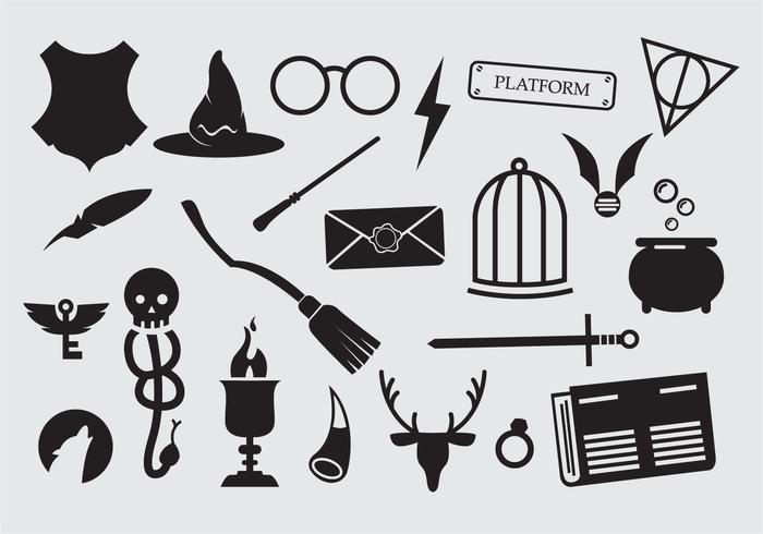 Large set of sorcery wizard icons vector