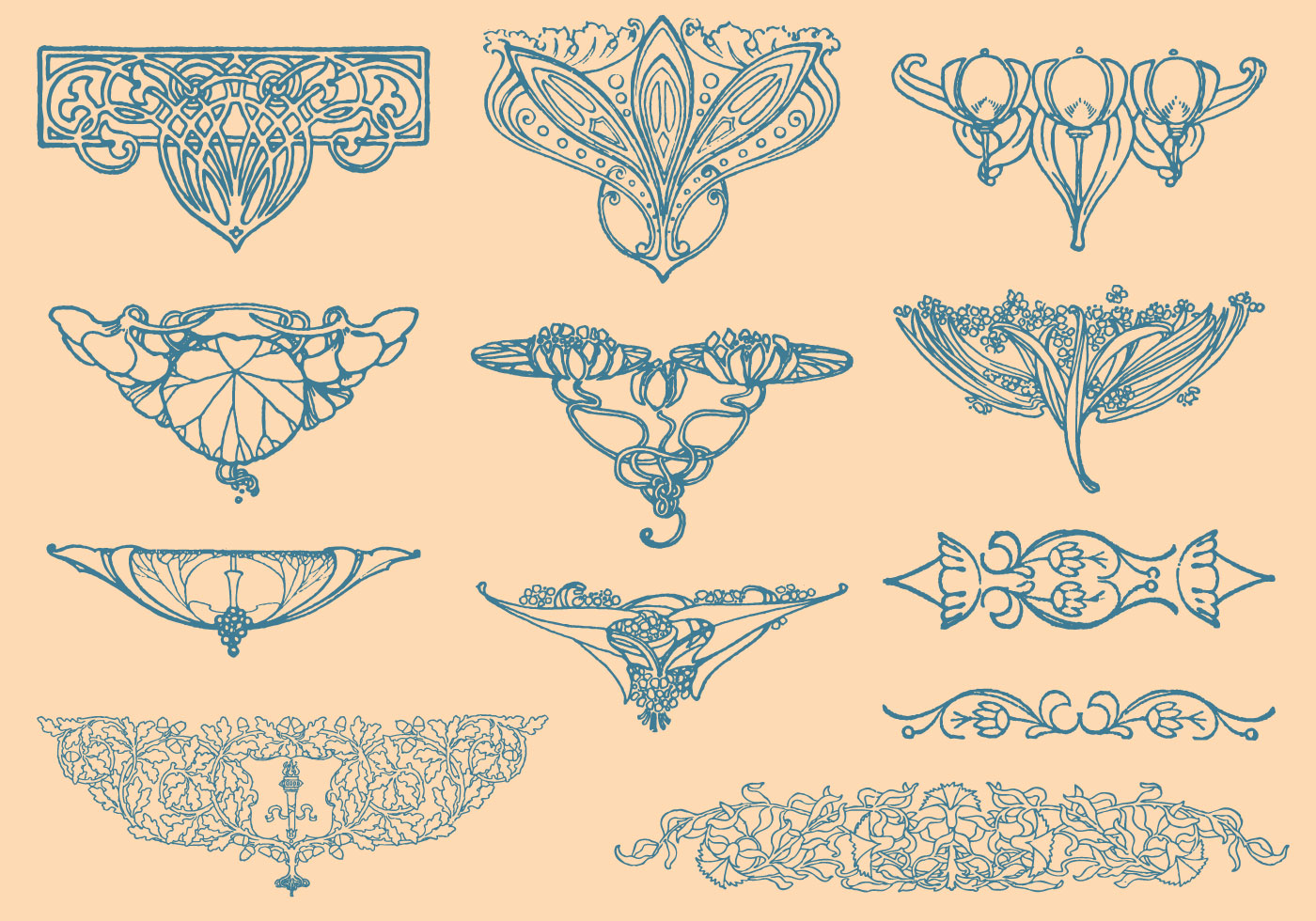 Art Deco Nouveau: Art Nouveau Vector Elements