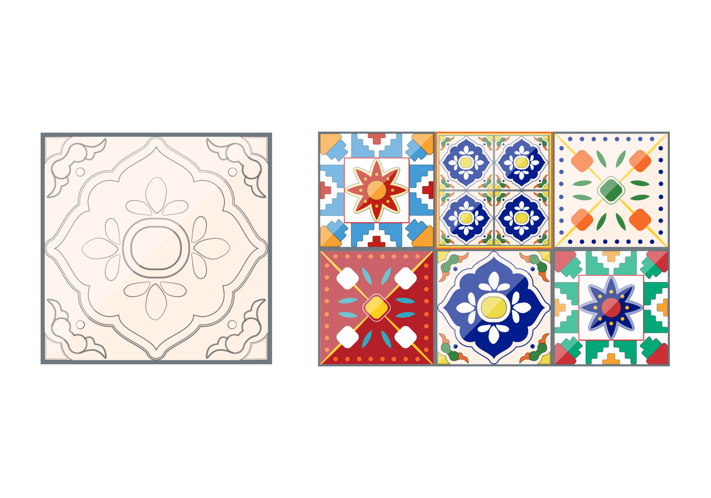 Talavera Pattern Tile Vectors Download Free Vector Art