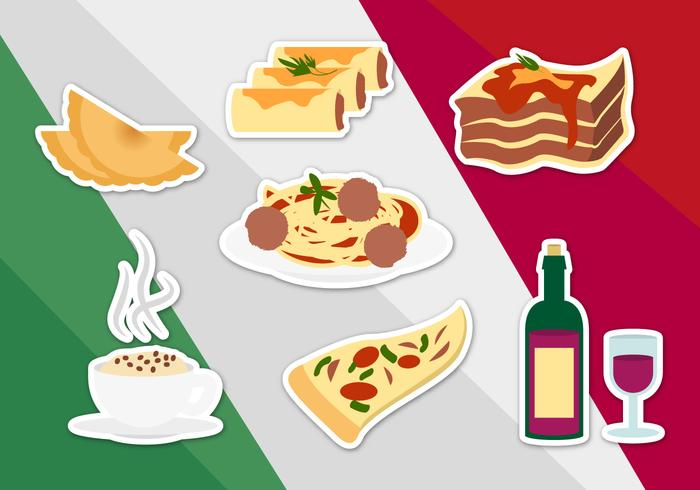 Italian Food Illustrations Vector