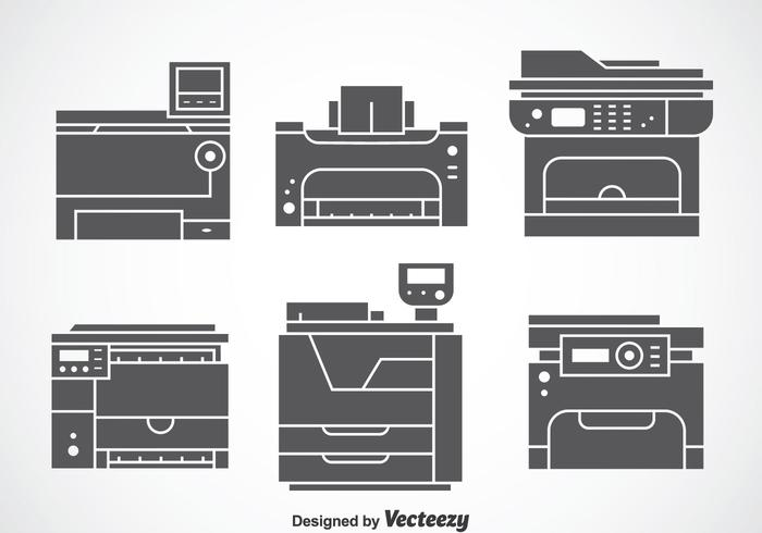 Photocopier Gray Icons Vector Sets