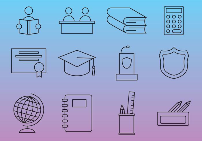 School Line Vector Icons