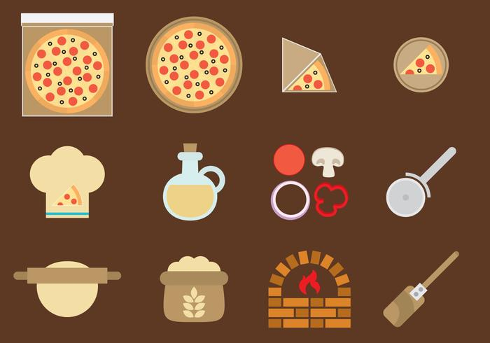 Iconos de la pizza del vector