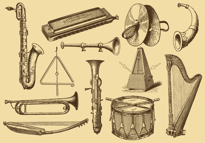 Old Style Drawing Musical Instruments