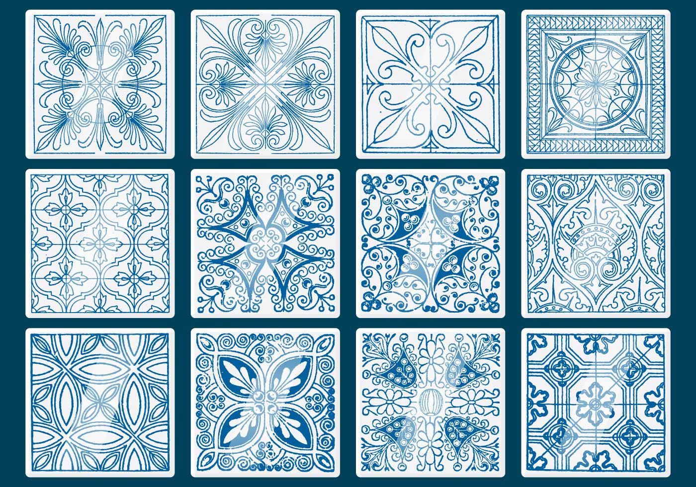 Blue Talavera Tile Vectors Download Free Vector Art