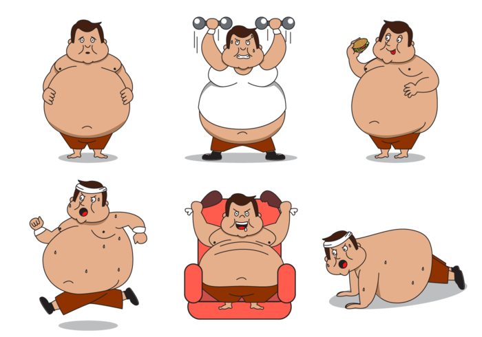 Gratis Fat Guy Character Vector