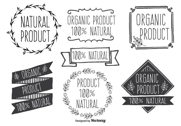 Hand Drawn Style Natural Product Vector Label Set