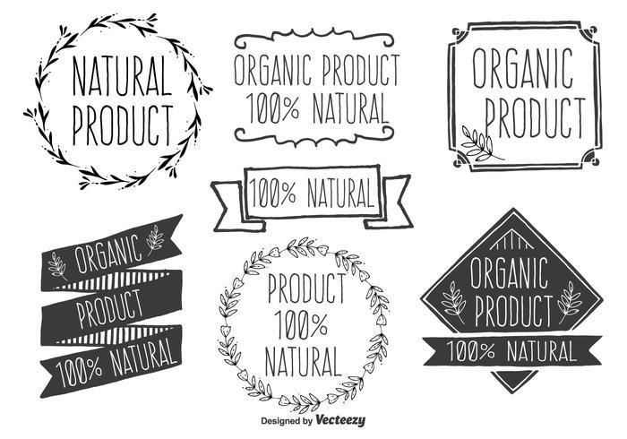 Ensemble d'étiquettes de vecteur de produit naturel tiré à la main