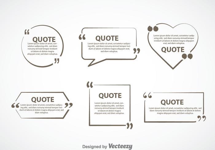 Grijze citaat Markering Tekst Bubble Vector Sets