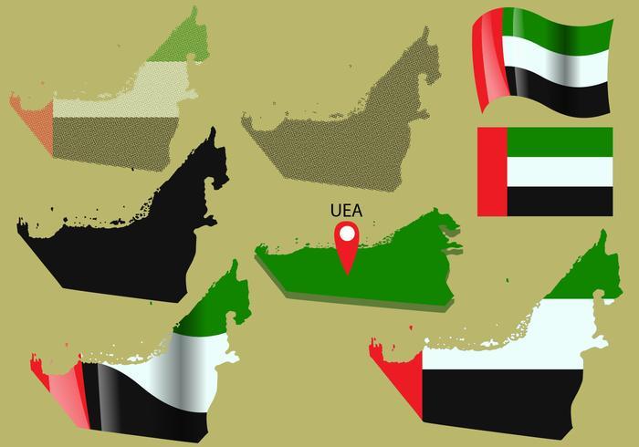 Uni Emiratos Árabes Mapa Vectores