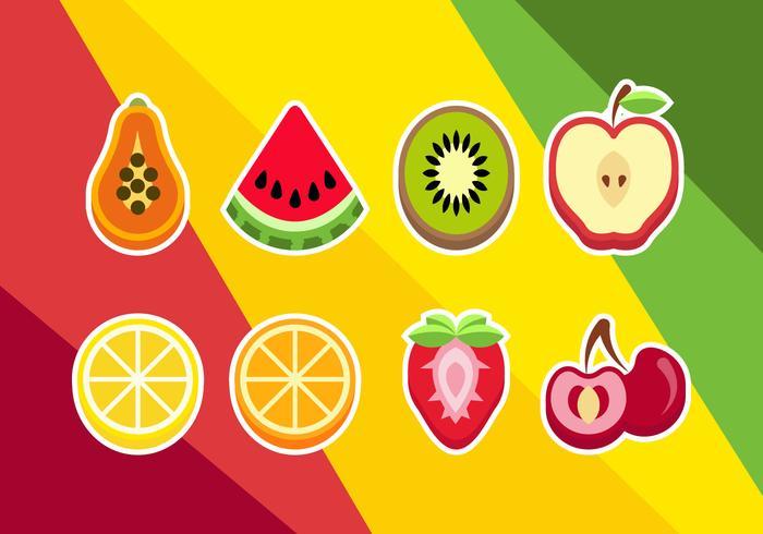 Sliced Fruits Illustrations Vector