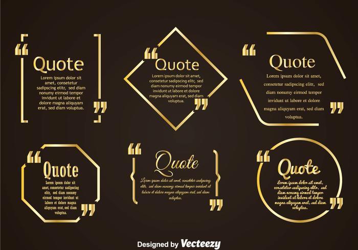 Golden Zitat Mark Bubble Vertors Sets vektor