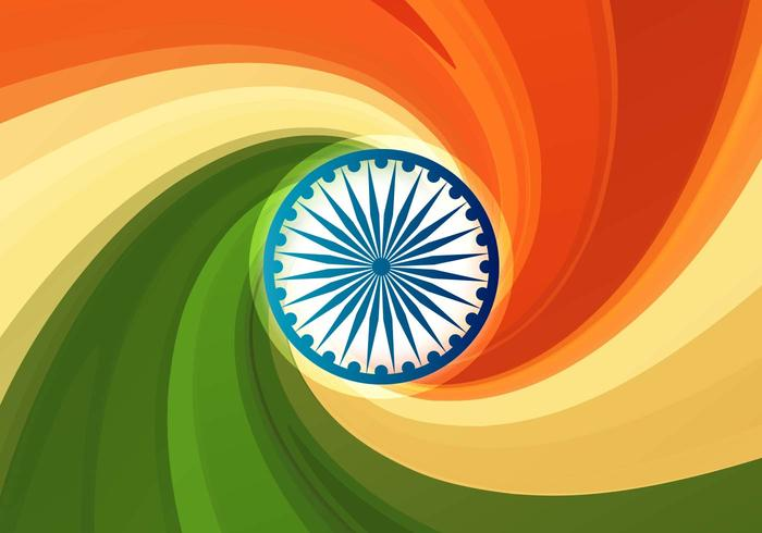 Free Vector Indian Flag Abstract Background with Swirls